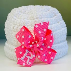 Newborn 0-4, Monogram Initial Baby Girls Bow Hat